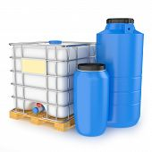 picture of drum-set  - Group of plastic water tanks isolated on white background - JPG