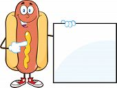 picture of wiener dog  - Happy Hot Dog  Cartoon Mascot Character Standing With A Sign - JPG