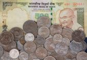 stock photo of gandhiji  - 500 Rs Note and Indian Coins Isolated - JPG