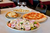 foto of italian food  - an italian meal in a small affordable italian restaurant - JPG
