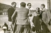 WEGIERSKA GORKA, POLAND, CIRCA FORTIES - Vintage photo of men (one of them with orthopedic sticks) a