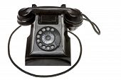 stock photo of rotary dial telephone  - Classic old black rotary dial - JPG