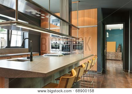 interior modern house, beautiful kitchen