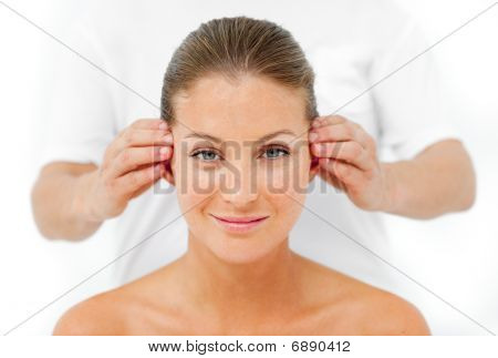 Charismatic Woman Having A Head Massage