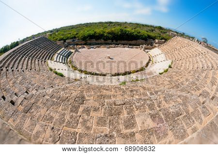 Ancient Roman Theatre At Salamis Ruins. Famagusta District. Cyprus