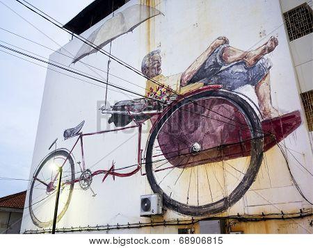 Massive Street Art Mural In Georgetown, Penang, Malaysia