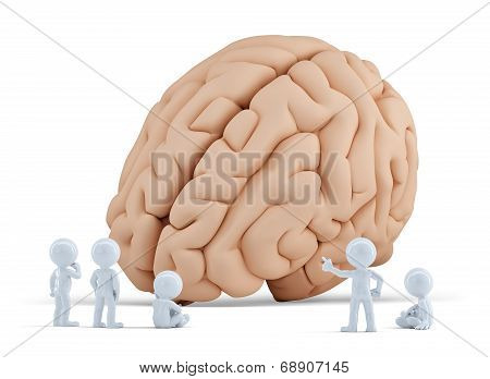 Little People Arond Giant Brain. Isolated. Contains Clipping Path