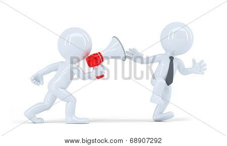 Chief Shouts Into A Megaphone At Employee. Business Concept. Contains Clipping Path