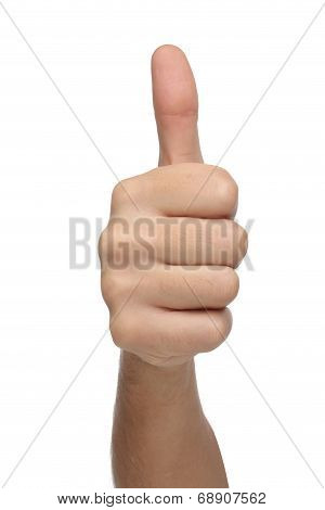 Male hand sign with thumb up. Isolated