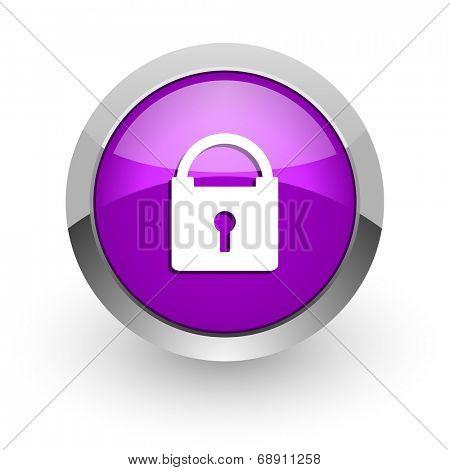 padlock pink glossy web icon