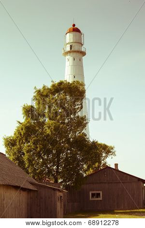 Tahkuna Lighthouse in Hiiuma island is the highest lighthouse in Estonia. Split toning filter aplied for retro vintage instagram feel