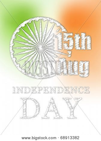 Poster, banner or flyer design with Asoka Wheel and text 15th August, Independence Day on national tricolors background.