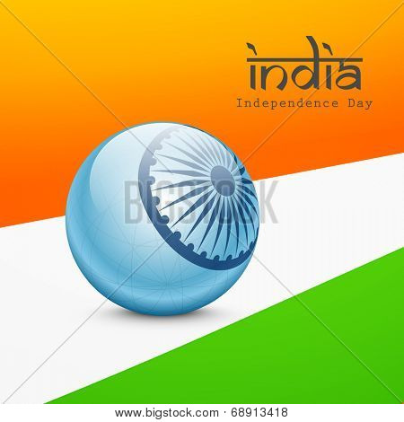 Beautiful blue globe with Asoka wheel with stylish text India on national tricolors background for Independence Day celebrations.
