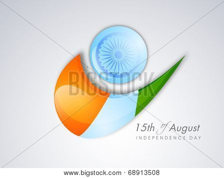 Indian Independence Day celebrations concept with Asoka Wheel and right sign in national tricolors on grey background.