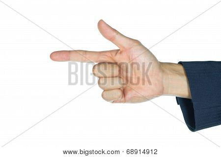 Businessman Finger Gun Isolated On White