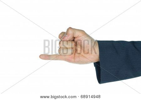 Businessman Little Finger Or Pinkie Isolated On White
