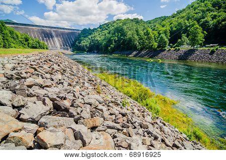 Views Of Man Made Dam At Lake Fontana Great Smoky Mountains Nc
