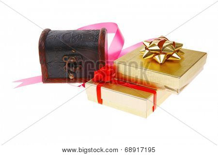 black decorative chest with gift box and pink bow
