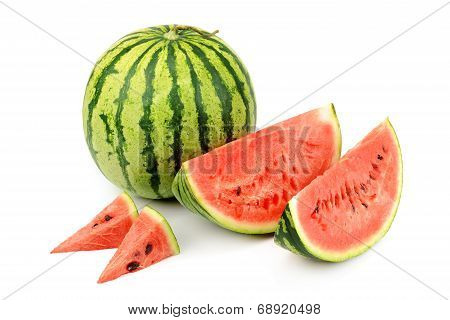Watermelon And Its Parts Isolated On White Background