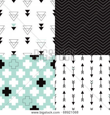 Seamless aztec geometric trend arrow plus sign and triangle chevron background pattern in vector