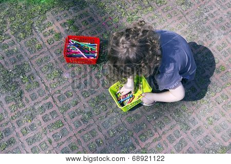 Crayon Wax Pastel Pensils And Kid