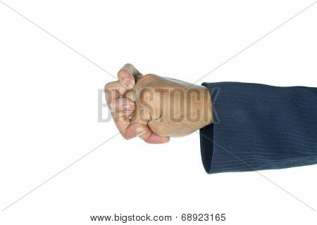 Businessman Show Shell Finger Shape Isolated On White