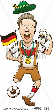 Enthusiastic man with traditional German costume celebrating and kicking a soccer ball