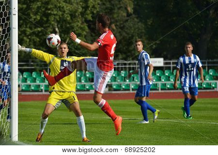 MOSCOW, RUSSIA - JULY 22, 2014: Match OFK, Serbia - Benfica, Portugal during the Lev Yashin VTB Cup, the international tournament for U21 soccer teams. OFK won 1-0