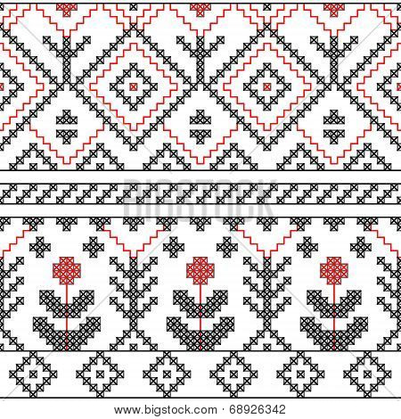 Black white and red ethnic geometric and floral cross stitch seamless pattern, vector