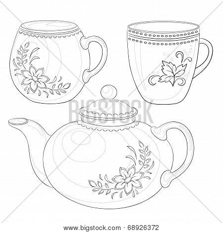 Teapot and cups, contours