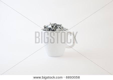 Flat Head Nails In A Coffee Cup