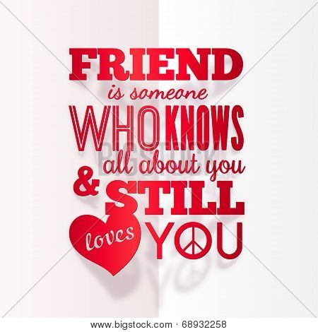 Typography paper design with quote about friendship