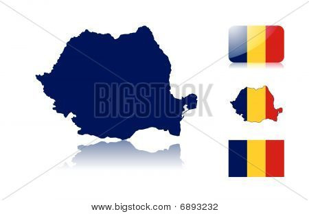 Romanian map and flags