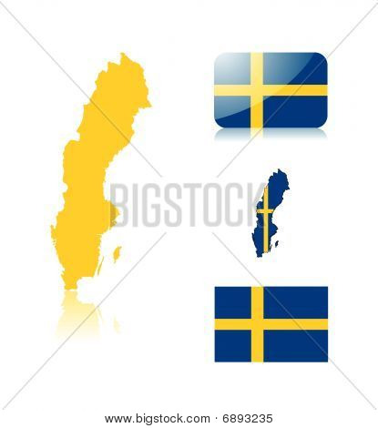Swedish map and flags