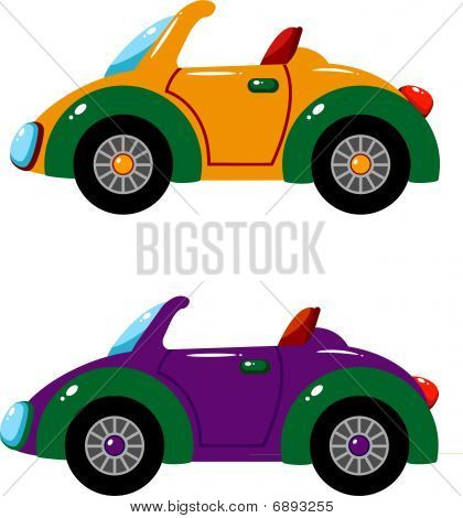 Two vector cars over white