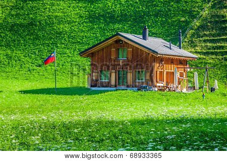 Wooden Houses In Steg, Malbun, In Lichtenstein, Europe