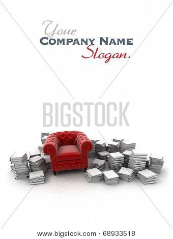 Red  velvet club armchair surrounded by white books