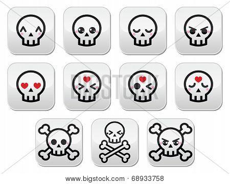 Kawaii cute Halloween skull buttons set