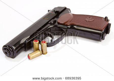 Black Handgun And Ammunition