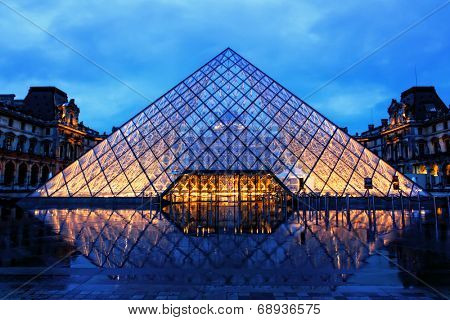 PARIS, FRANCE - June 29:  Musee Louvre pyramid on a rainy night, June 29, 2014.  The Louvre is one of the world's best known museums.