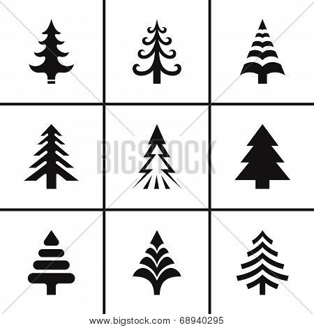 Christmas fir tree icons set