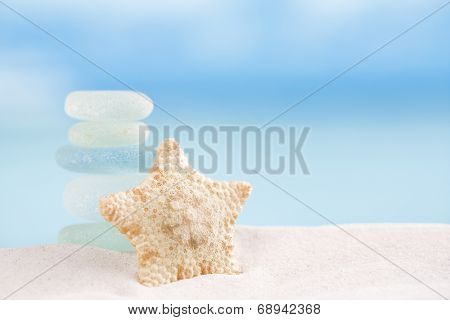 deepwater rare starfish with sea glass ocean , beach and seascape, shallow dof