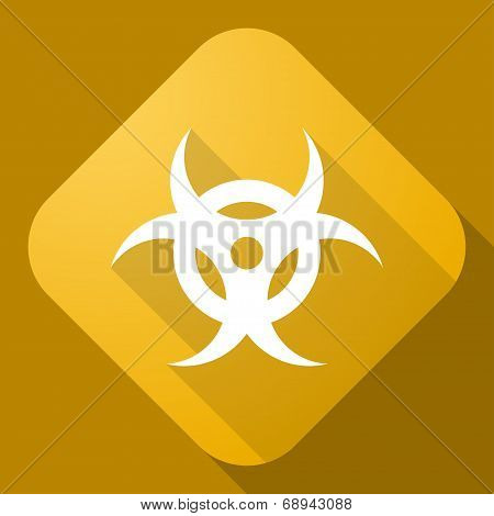 Vector Icon Of Bio Hazard Sign With A Long Shadow