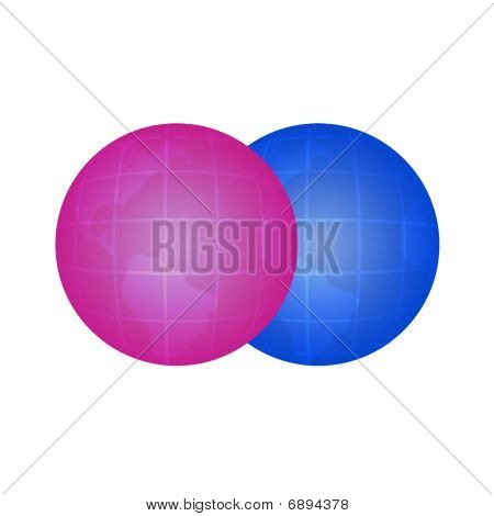 Two colour globes