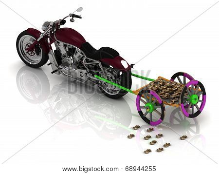 New Motorcycle Carries Varicoloured Old Wagon Cart With Gold