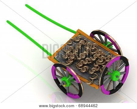 Varicoloured Old Wagon Cart With Gold And Wooden Wheels
