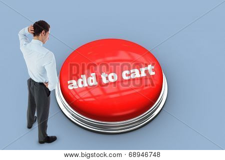 The word add to cart and thinking businessman scratching head against purple background