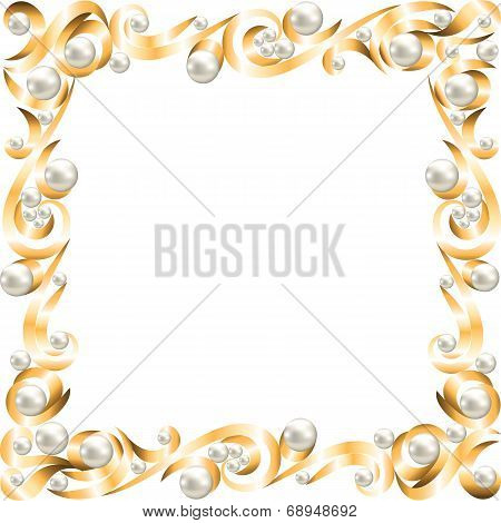 Golden jewelry frame