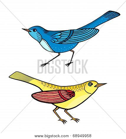 Illustration Of Cartoon Beautiful Birds Isolated On White.