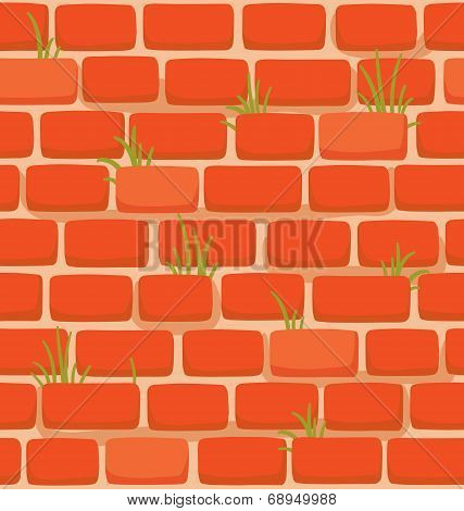 Seamless Texture Of A Cartoon Brick Wall With Grass